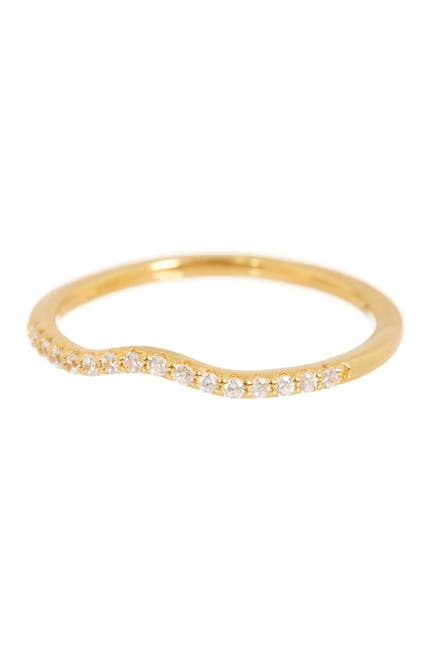 Image of LaFonn 18K Gold Over Sterling Silver Micro Pave Simulated Diamond Wedding Band