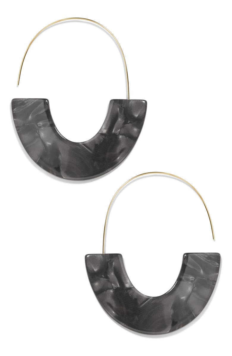 BAUBLEBAR Faidra Thin Drop Acrylic Oval Hoop Earrings, Main, color, 001