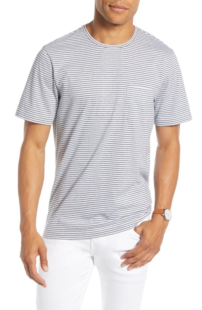 1901 Stripe Pocket Slim Fit T-Shirt, Main, color, GREY SHADE HEATHER FINE STRIPE