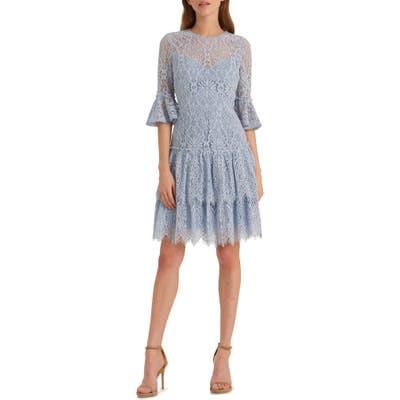 Ml Monique Lhuillier Corded Floral Lace Cocktail Dress, Blue