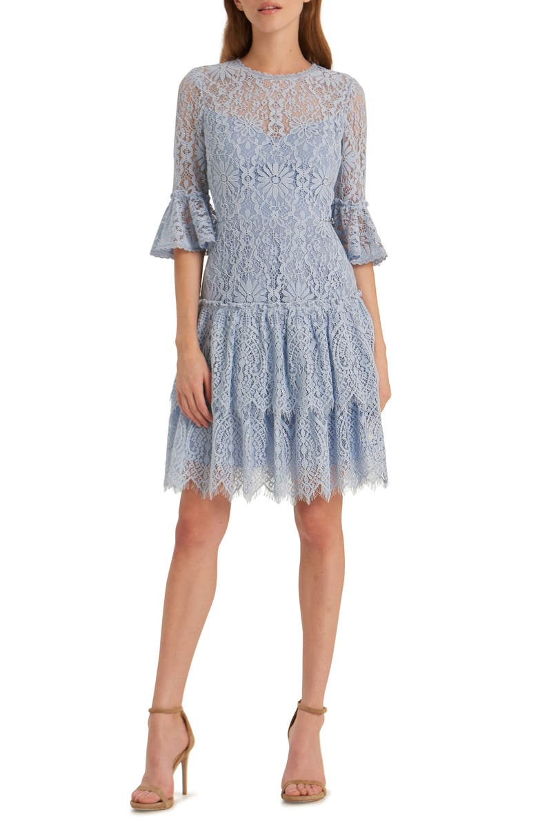 ML MONIQUE LHUILLIER Corded Floral Lace Cocktail Dress, Main, color, 400