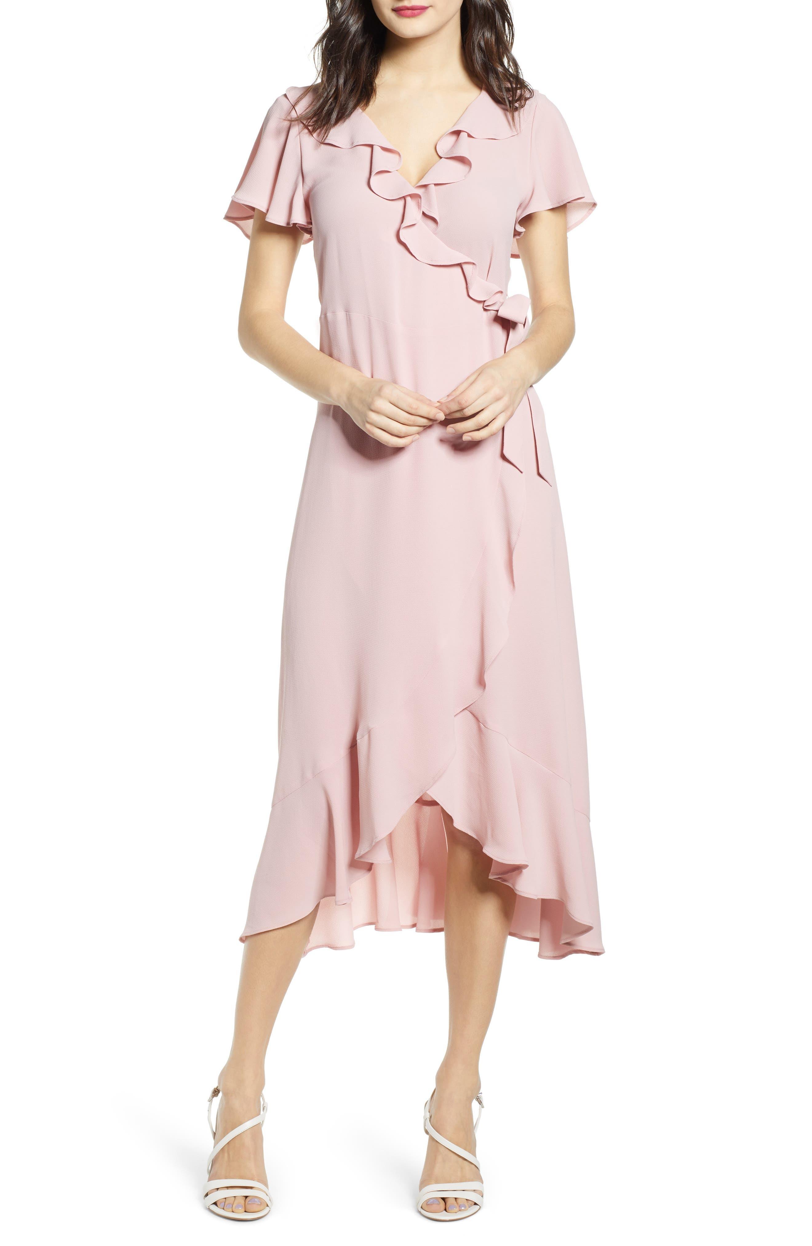 Chelsea28 Ruffle Wrap Dress, Pink