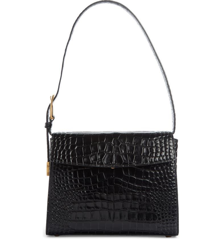 BALENCIAGA Croc Embossed Calfskin Leather Shoulder Bag, Main, color, BLACK