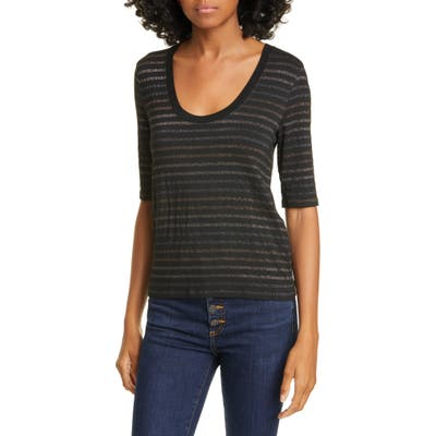 Veronica Beard Poppy U-Neck Metallic Stripe Tee, Metallic