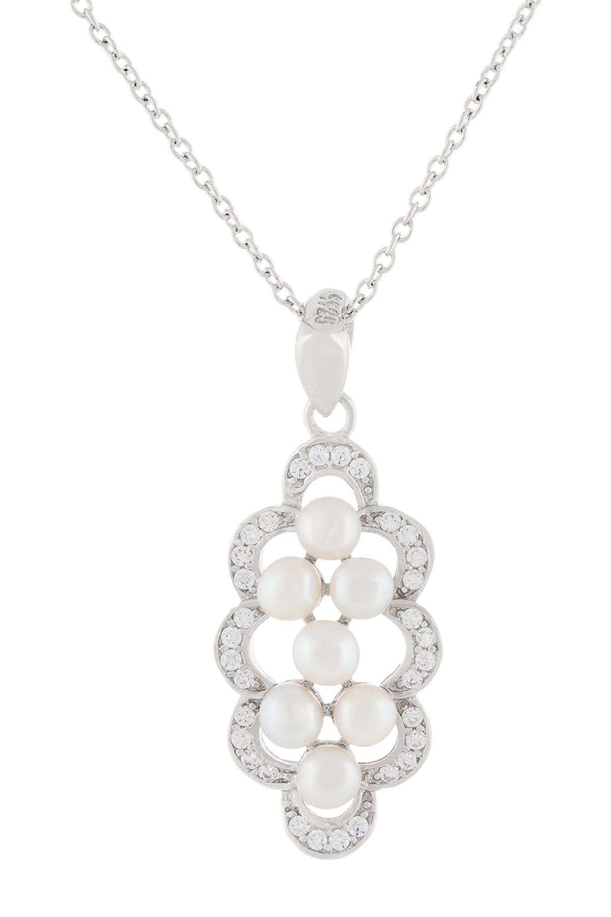 Image of Splendid Pearls Sterling Silver 3-4mm White Freshwater Pearl & CZ Pendant Necklace