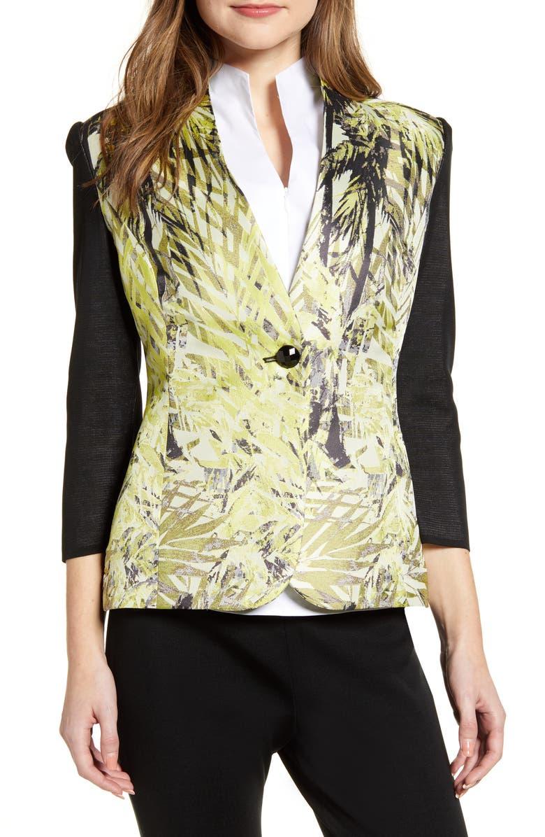 MING WANG Leaf Print Mixed Media Jacket, Main, color, BLACK/ MULTI
