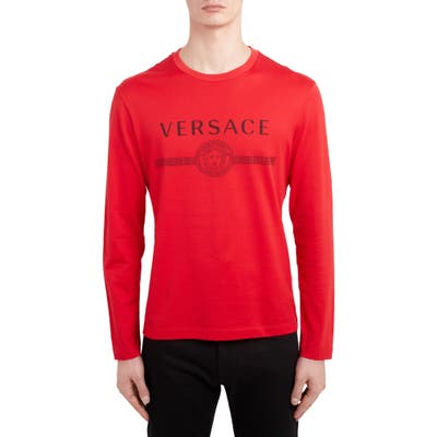 Versace Logo Long Sleeve T-Shirt, Red