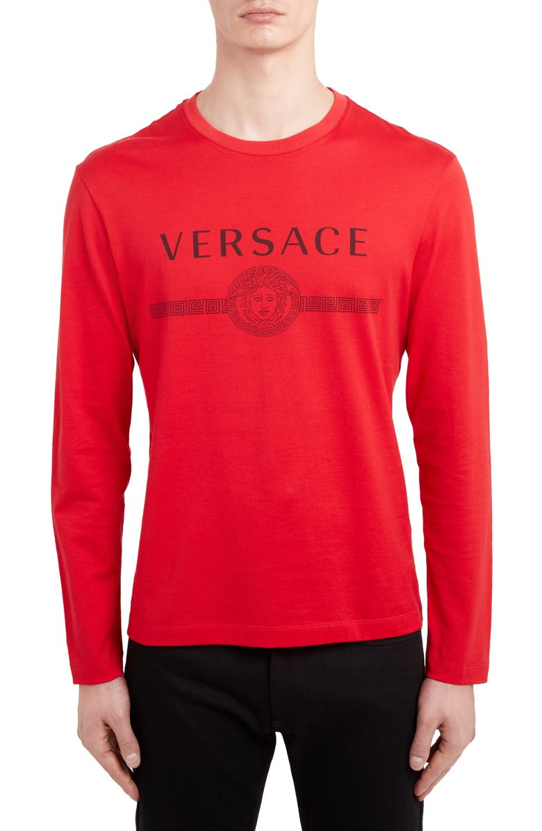 VERSACE Logo Long Sleeve T-Shirt, Main, color, RED