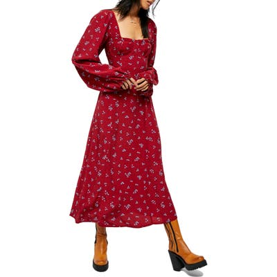 Free People Iris Floral Long Sleeve Midi Dress, Burgundy