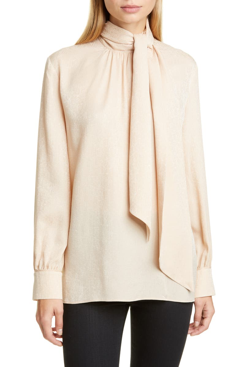 FENDI Embroidered Scarf Neck Silk Blouse, Main, color, BEIGE