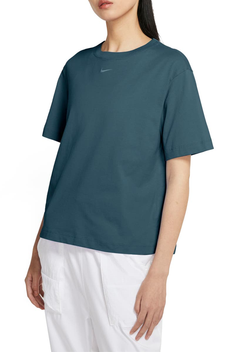 NIKE Essential Embroidered Swoosh Organic Cotton T-Shirt, Main, color, ASH GREEN/ WHITE