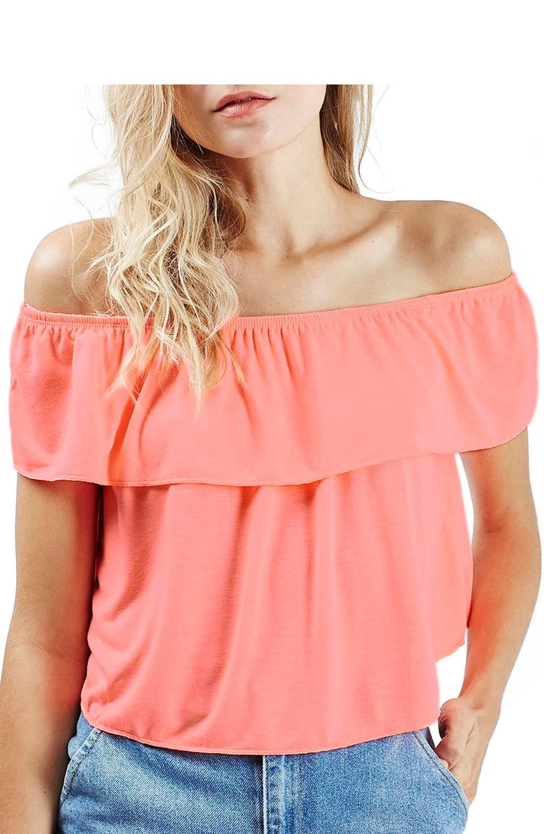 TOPSHOP 'Bardot' Off the Shoulder Blouse, Main, color, 950
