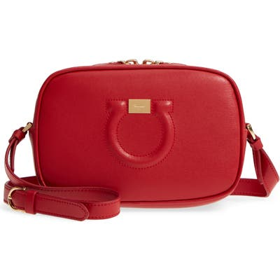Salvatore Ferragamo Gancio Leather Camera Bag - Red