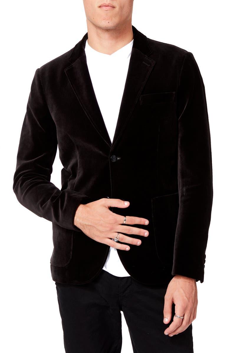 GOOD MAN BRAND Slim Fit Velveteen Dinner Jacket, Main, color, BLACK