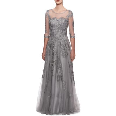 La Femme Lace & Tulle Illusion Bodice Gown, Metallic