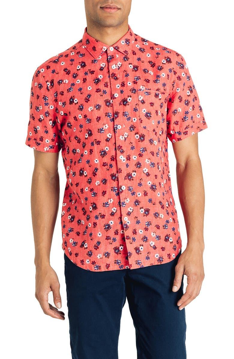 GOOD MAN BRAND Slim Fit Short Sleeve Aloha Floral Print Linen Shirt, Main, color, SORBET