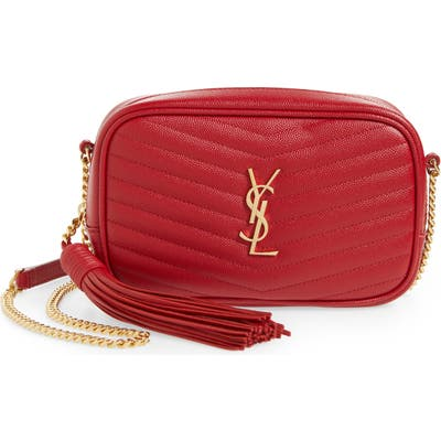 Saint Laurent Mini Lou Quilted Leather Crossbody Bag - Red