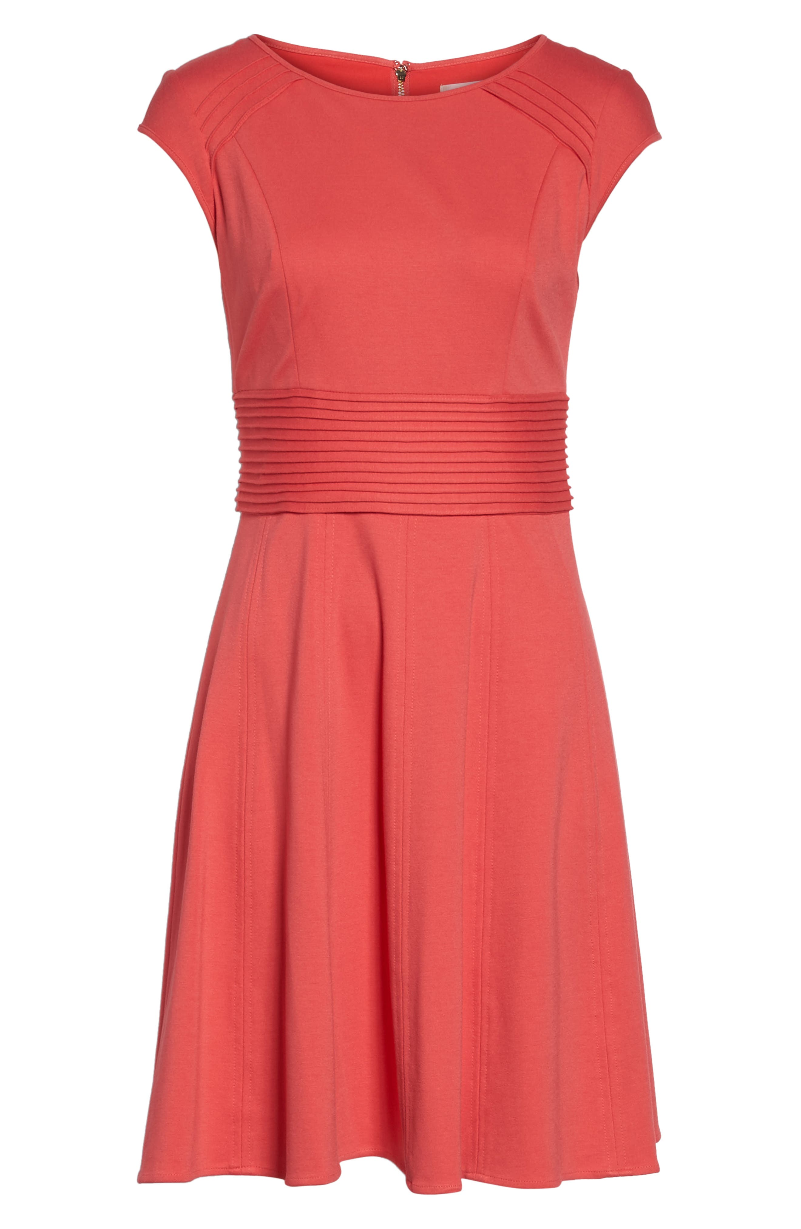 ,                             Pintucked Waist Seamed Ponte Knit Fit & Flare Dress,                             Alternate thumbnail 7, color,                             950