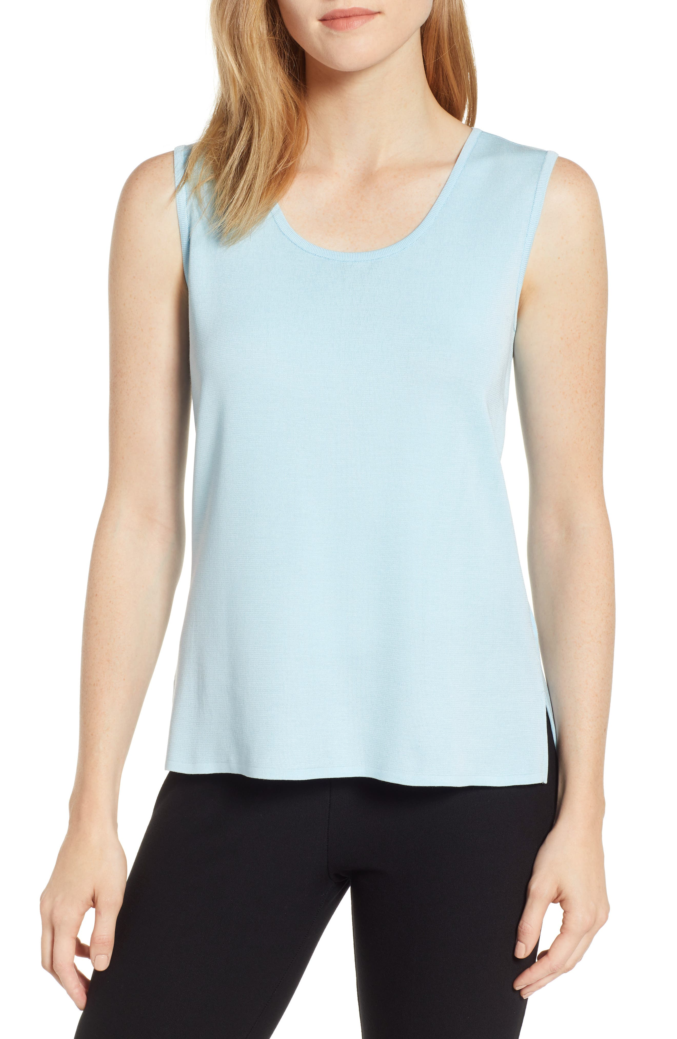 Ming Wang Scoop Neck Tank, Blue