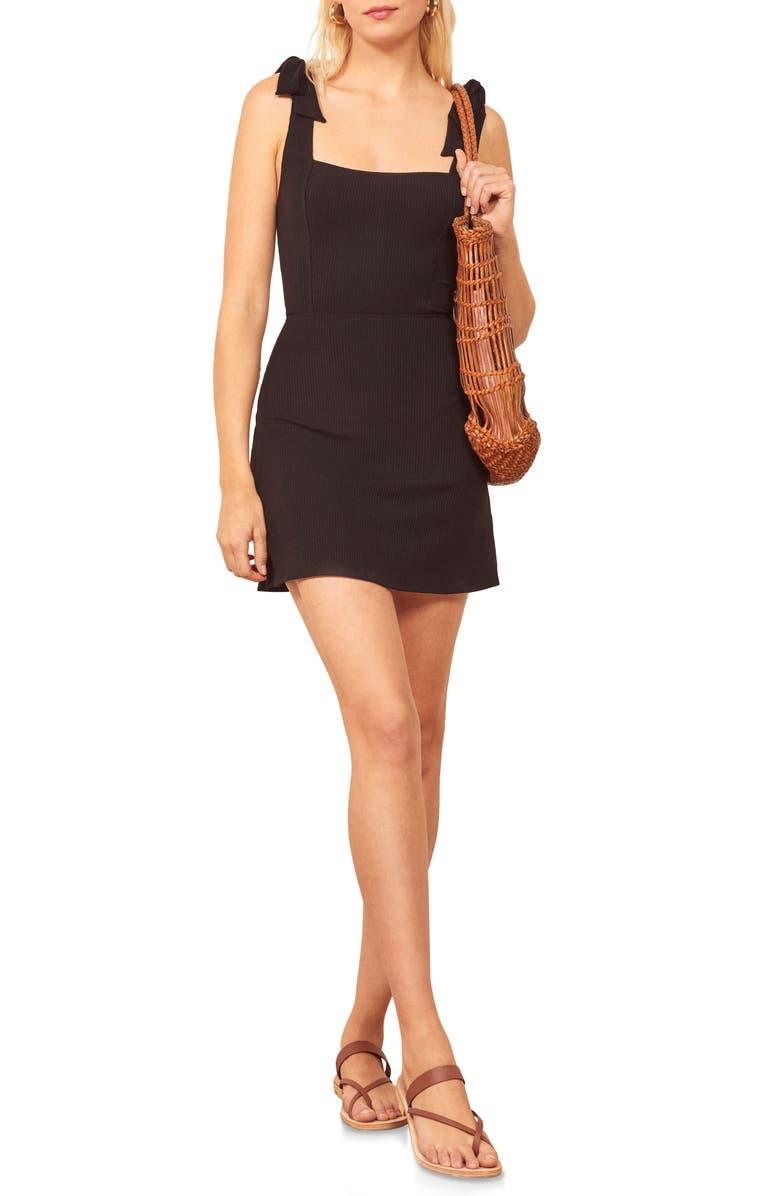 REFORMATION Liz Tie Shoulder Minidress, Main, color, BLACK