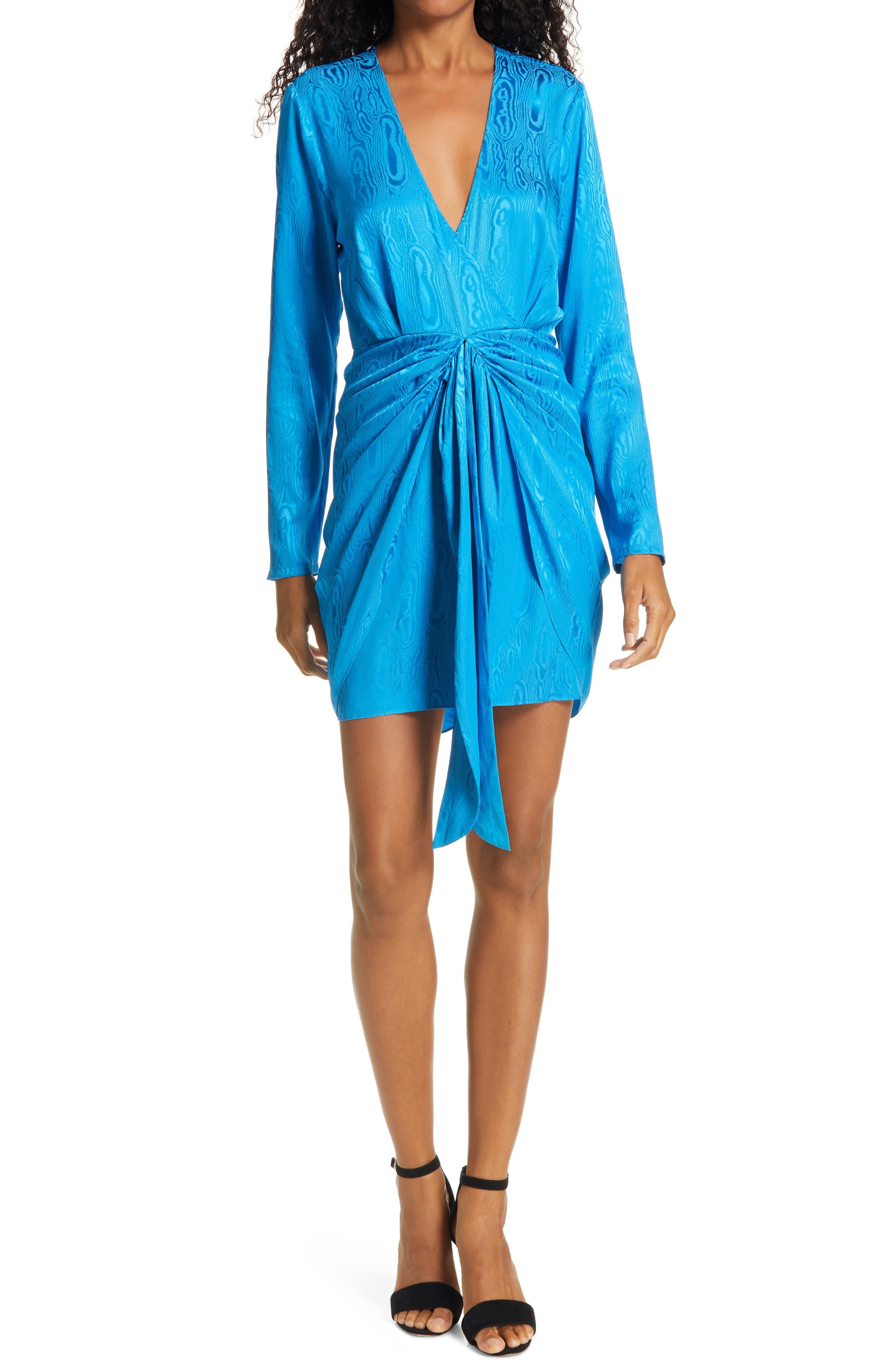 Image of Ronny Kobo Marissa Long Sleeve Silk Blend Minidress