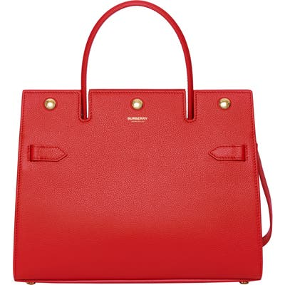 Burberry Small Title Leather Bag - Red