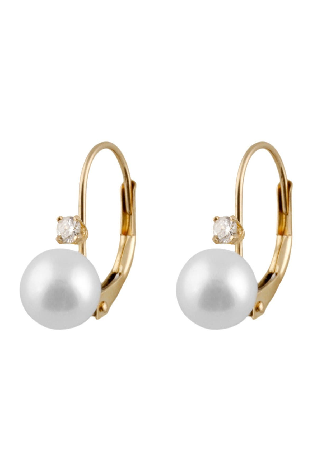 Image of Splendid Pearls 14K Gold Freshwater Pearl & Diamond Leverback Earrings - 0.10 ctw