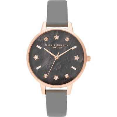 Olivia Burton Celestial Faux Leather Strap Watch,