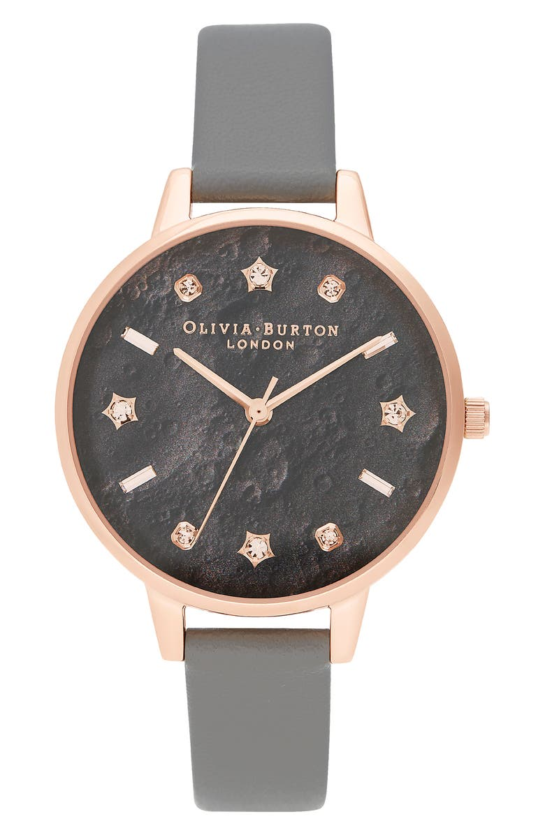 OLIVIA BURTON Celestial Faux Leather Strap Watch, 34mm, Main, color, GREY/ ROSE GOLD