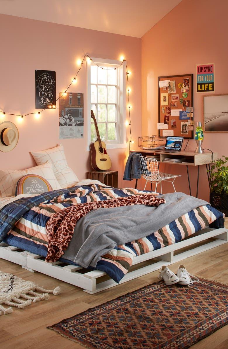 BP. Reversible Print Comforter & Check Sheet Set, Main, color, BLUE VINTAGE MULTI