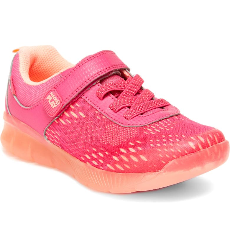 STRIDE RITE M2P Lighted Neo Sneaker, Main, color, PINK TEXTILE/ MESH