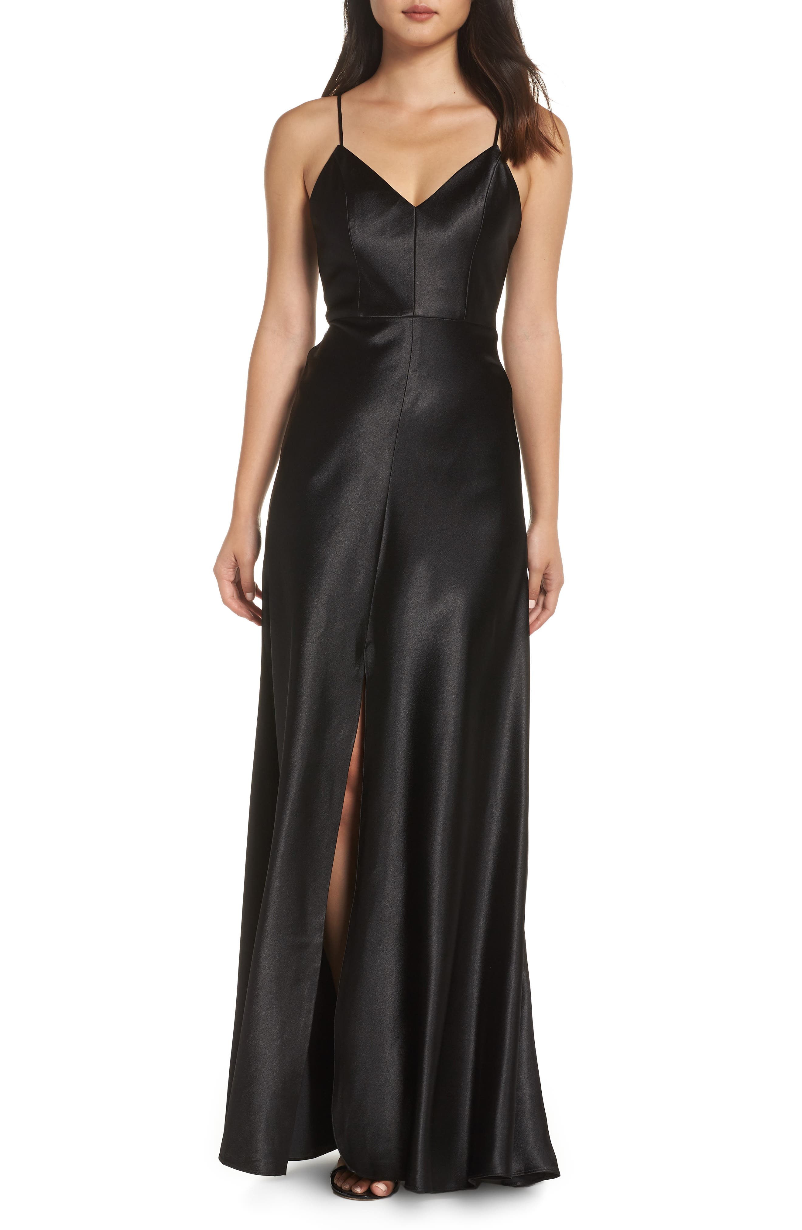 Jenny Yoo Dina V-Neck Satin Crepe Gown, Black