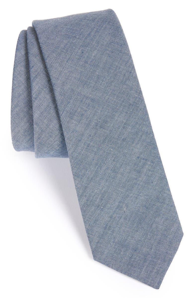THE TIE BAR Cotton Tie, Main, color, WARM BLUE