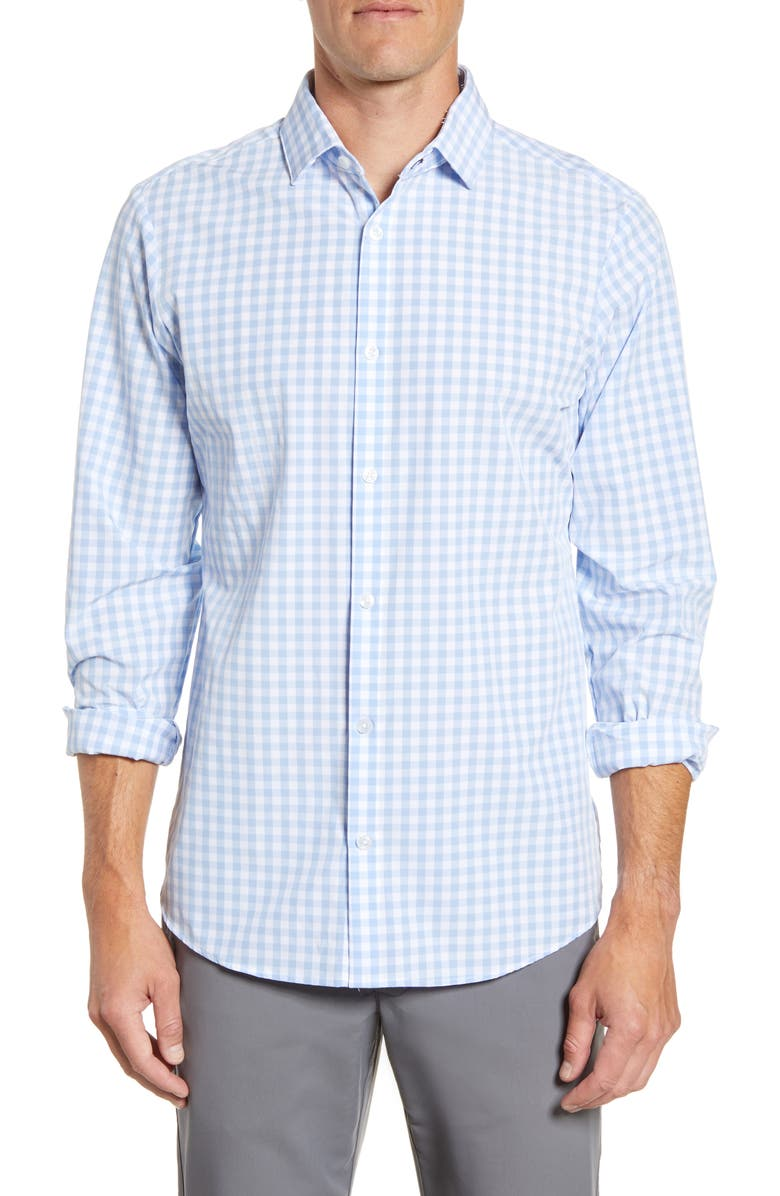 MIZZEN+MAIN Hampton Trim Fit Gingham Performance Shirt, Main, color, LIGHT BLUE GINGHAM