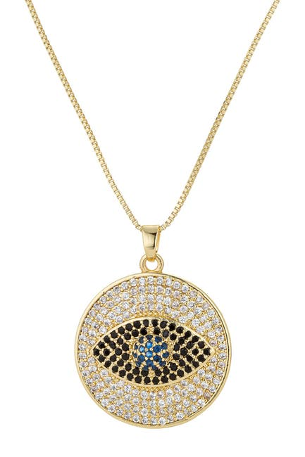 Image of Eye Candy Los Angeles Sterling Silver Pave CZ Evil Eye Pendant Necklace