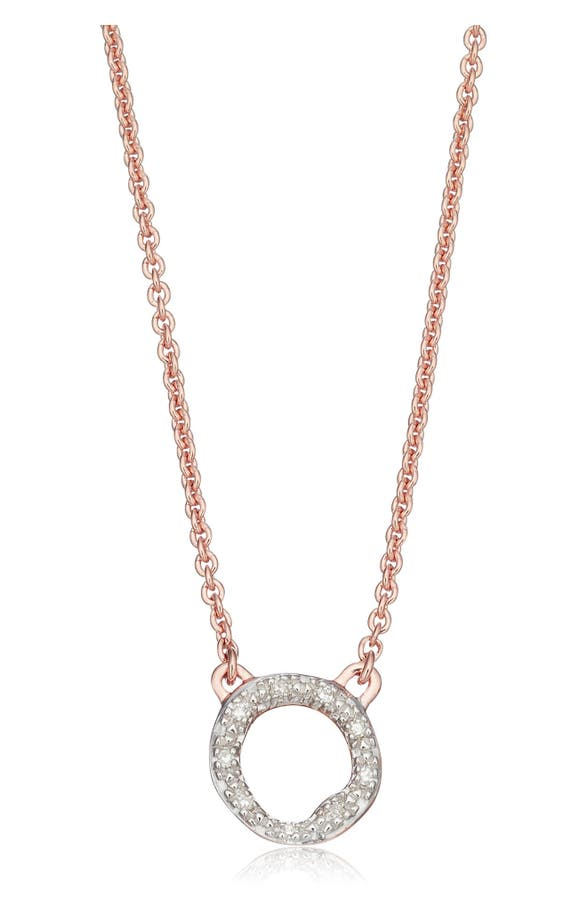 Monica Vinader RIVA DIAMOND CIRCLE PENDANT NECKLACE