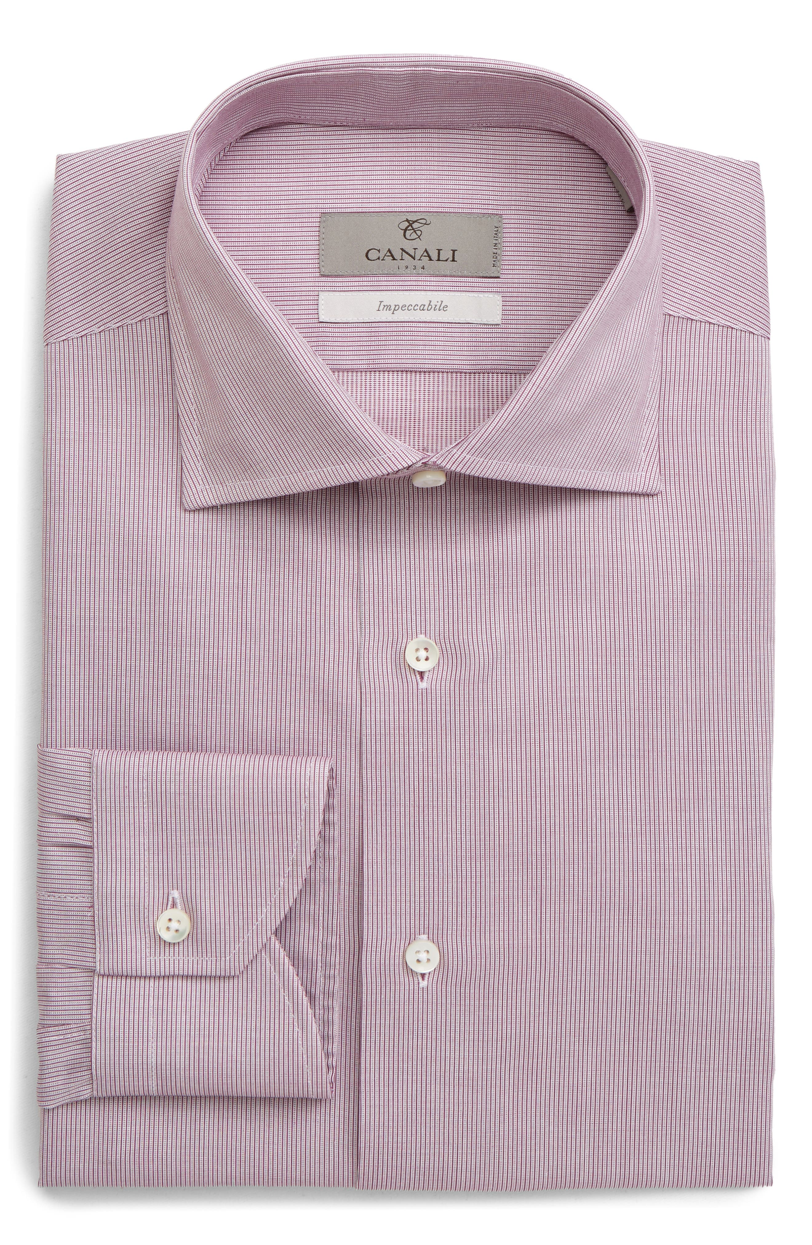 ,                             Impeccabile Slim Fit Solid Dress Shirt,                             Main thumbnail 1, color,                             RED