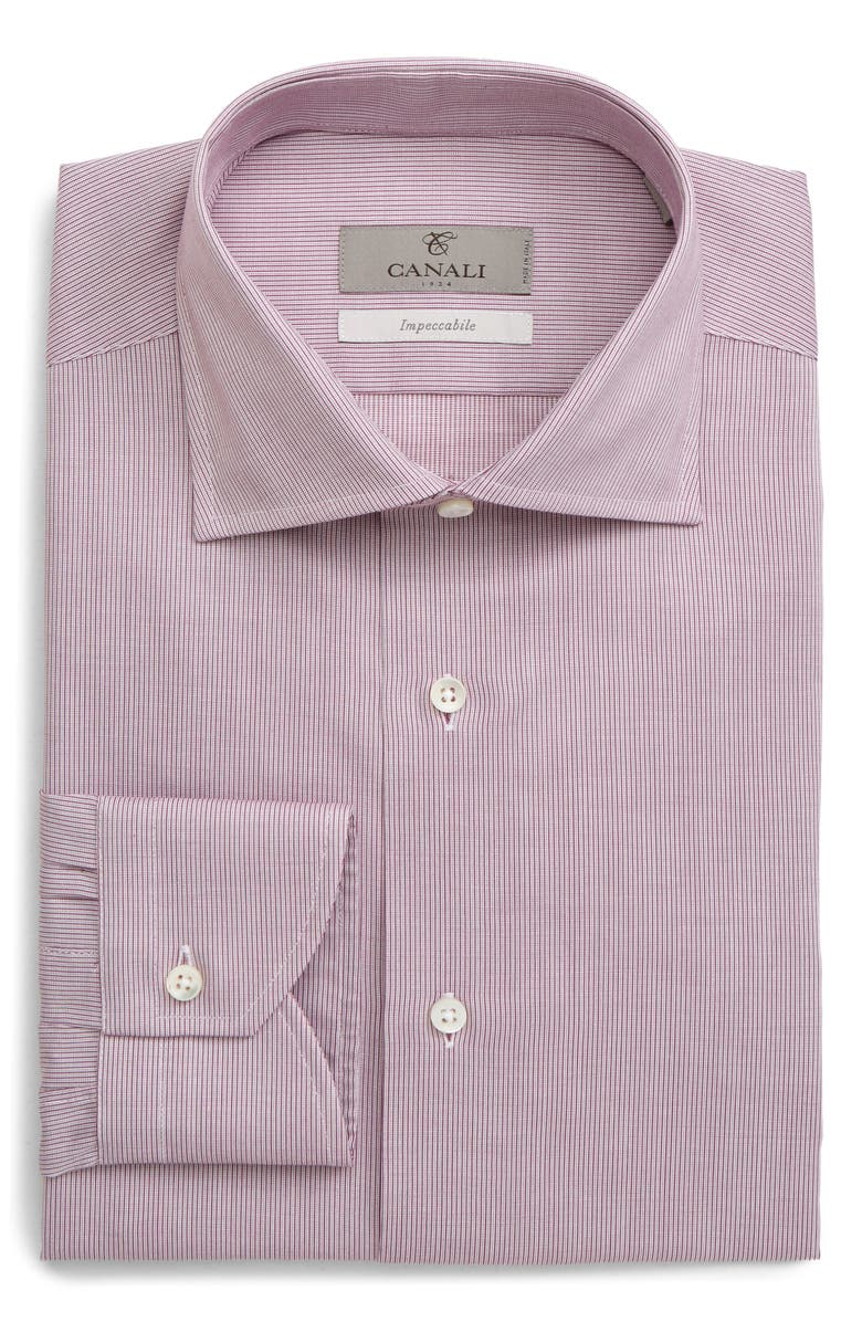 CANALI Impeccabile Slim Fit Solid Dress Shirt, Main, color, RED