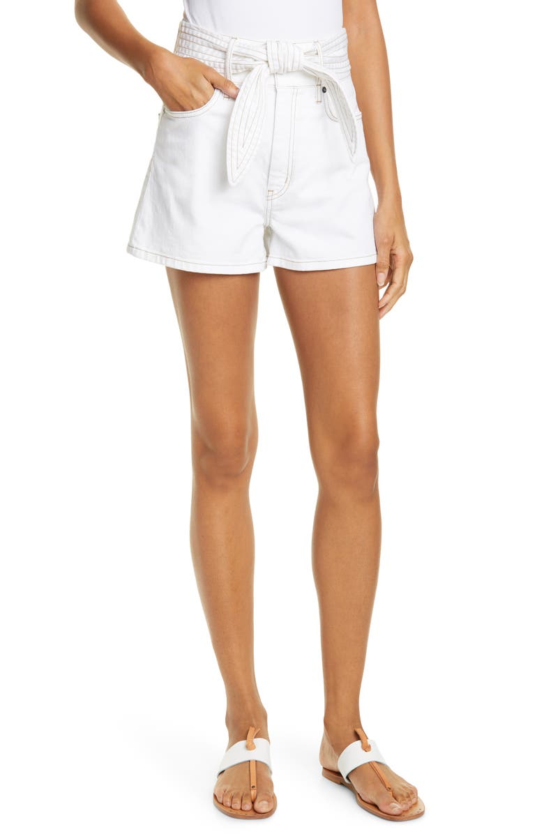 Galenia Topstitch Tie Front Stretch Cotton Shorts by Joie