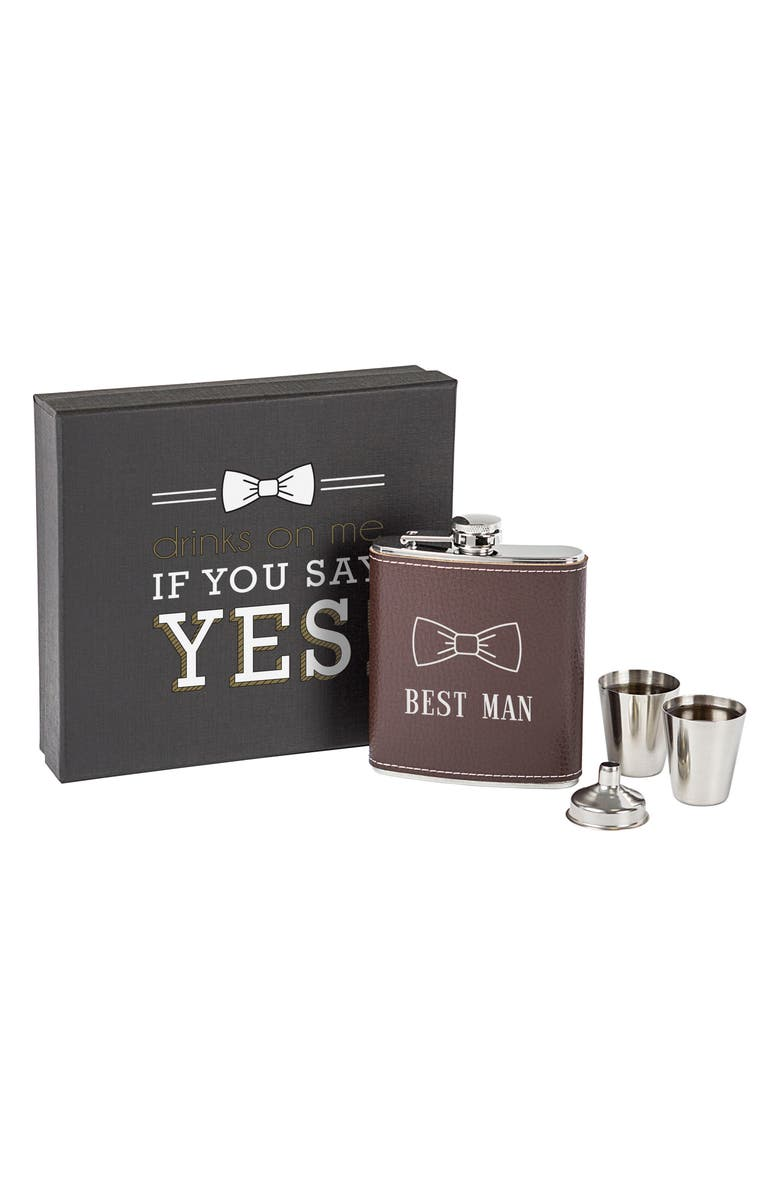 CATHY'S CONCEPTS Best Man Flask Set, Main, color, BROWN