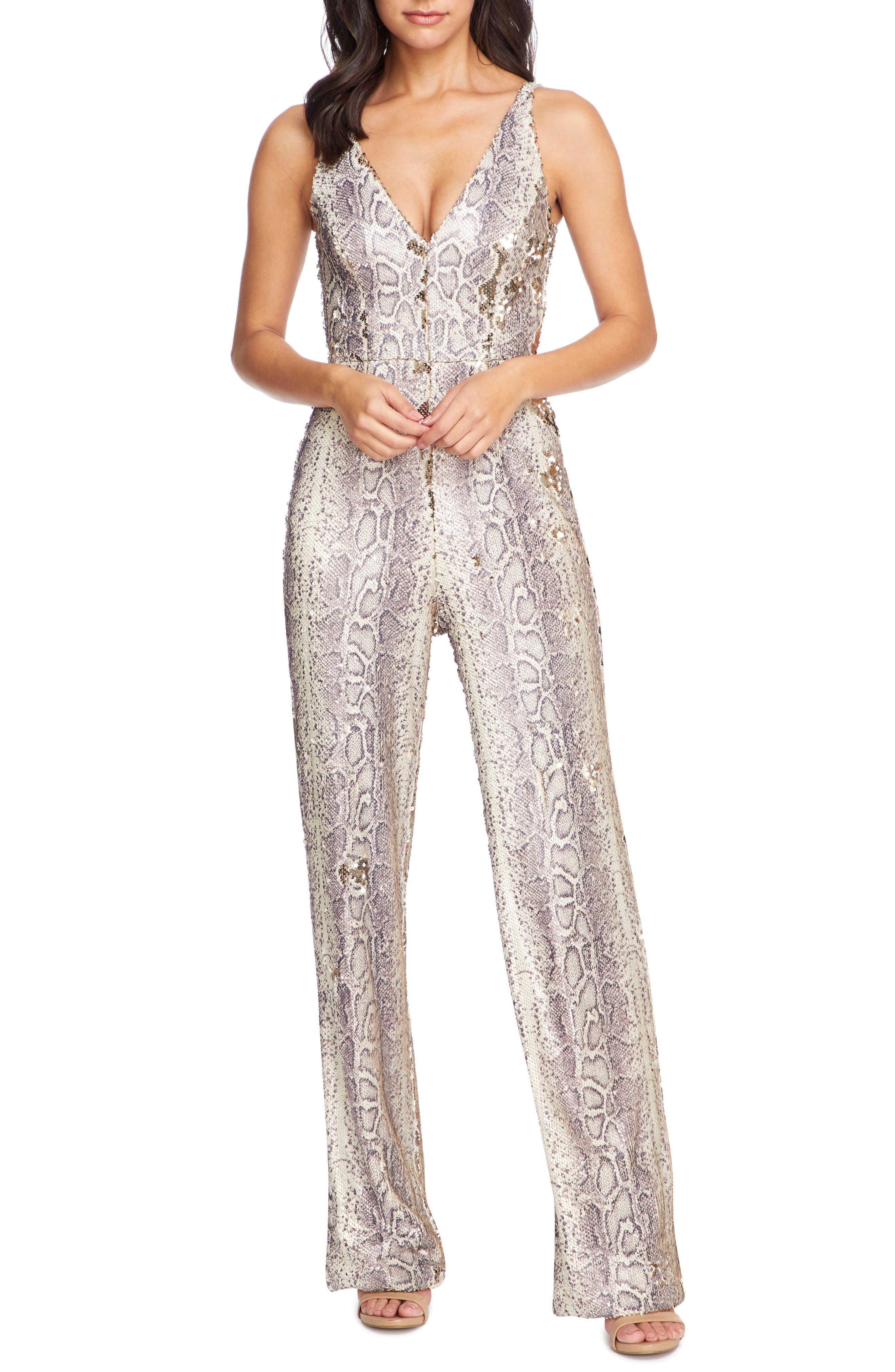 70s Jumpsuit | Disco Jumpsuits – Sequin, Striped, Gold, White, Black Womens Dress The Population Charlie Python Print Sequin Jumpsuit $238.50 AT vintagedancer.com