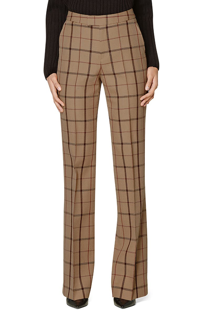 SUISTUDIO Ally Windowpane Wool Trousers, Main, color, CAMEL/ BURGUNDY CHECK