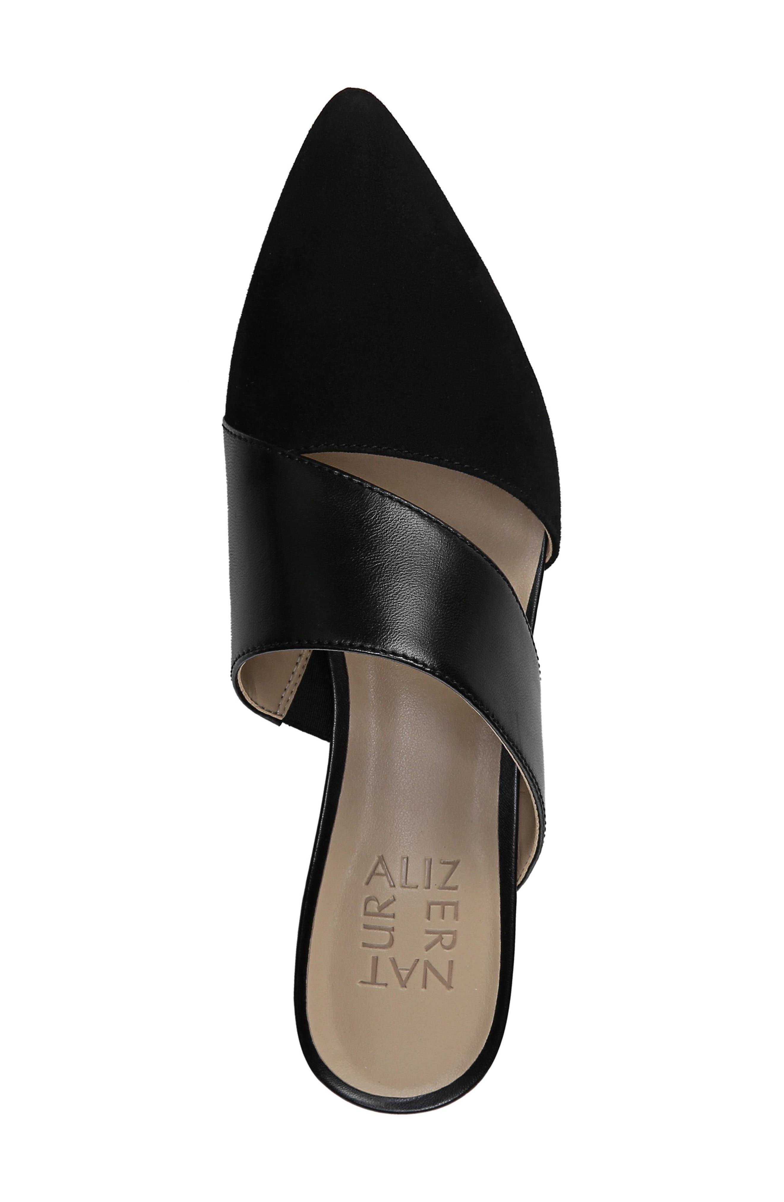 ,                             Bev Pointy Toe Mule,                             Alternate thumbnail 5, color,                             BLACK SUEDE/ LEATHER