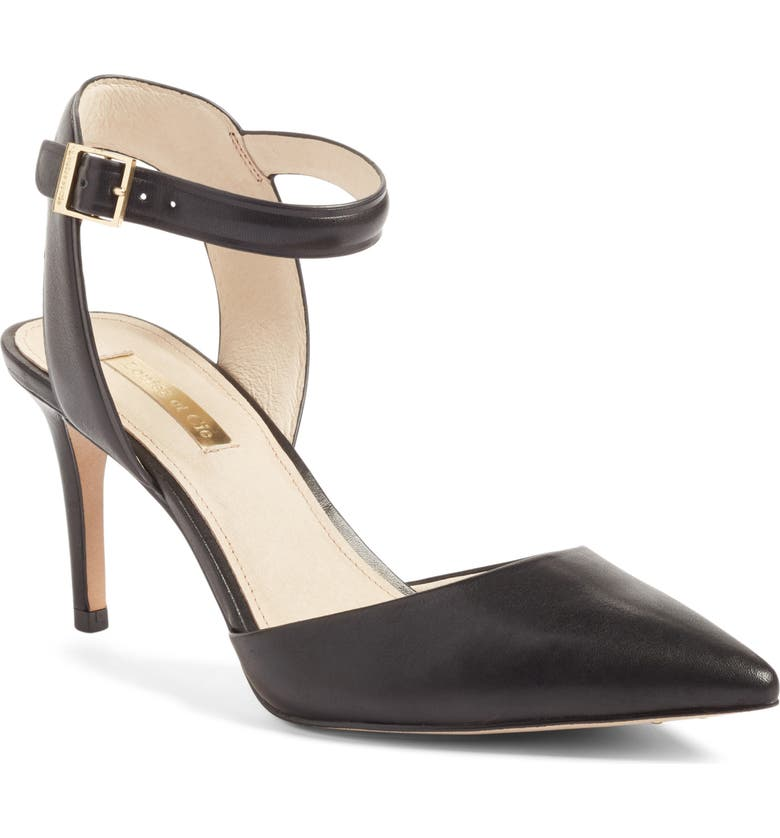 LOUISE ET CIE Kota Ankle Strap Pump, Main, color, BLACK LEATHER