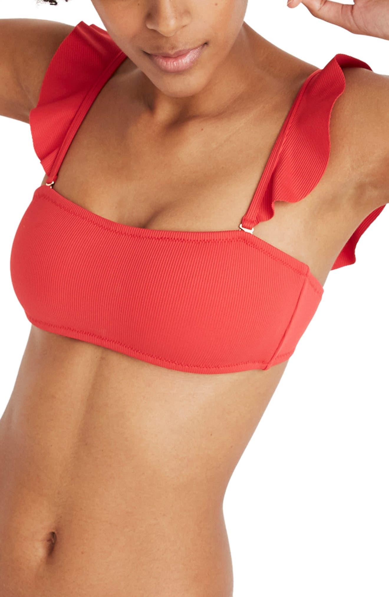 Second Wave Ribbed Ruffle Strap Bandeau Bikini Top, Main, color, AMERICANA RED