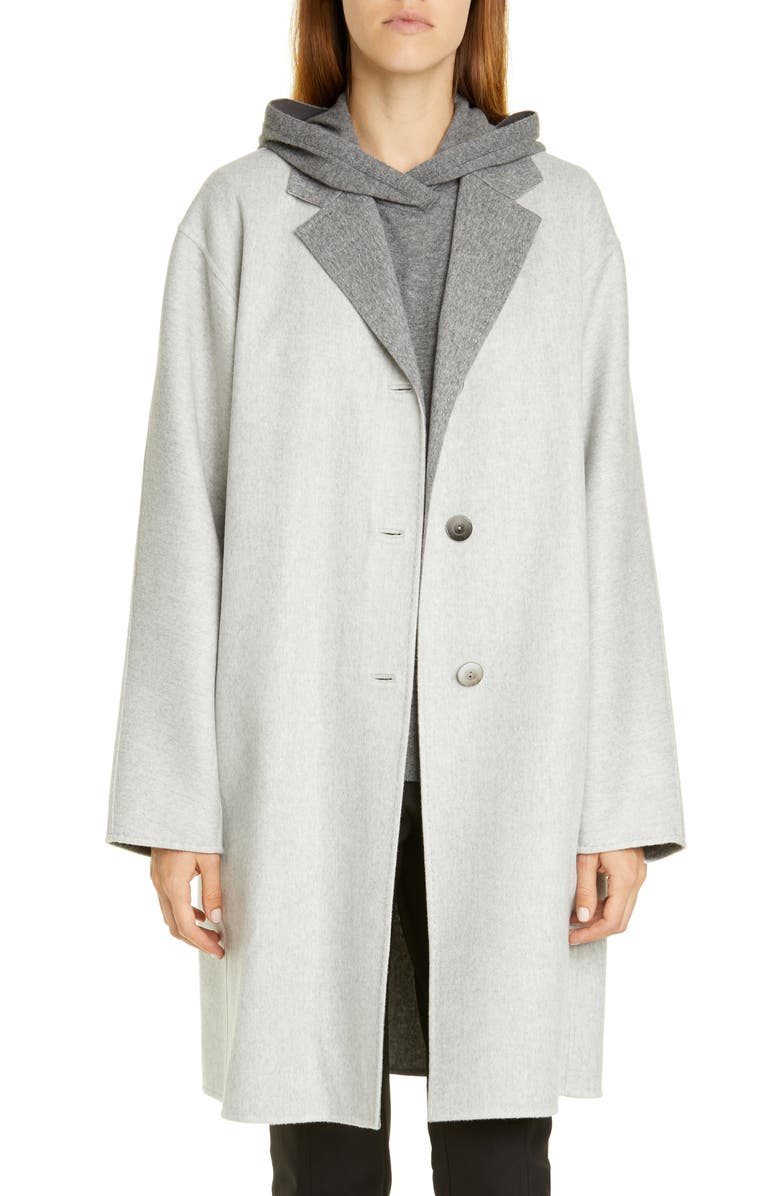 LAFAYETTE 148 NEW YORK Cullen Reversible Wool & Cashmere Coat, Main, color, GREY MELANGE/ NICKEL MELANGE