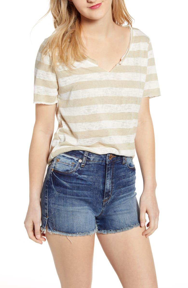 PROJECT SOCIAL T Suzie Stripe Shirttail Tee, Main, color, 100