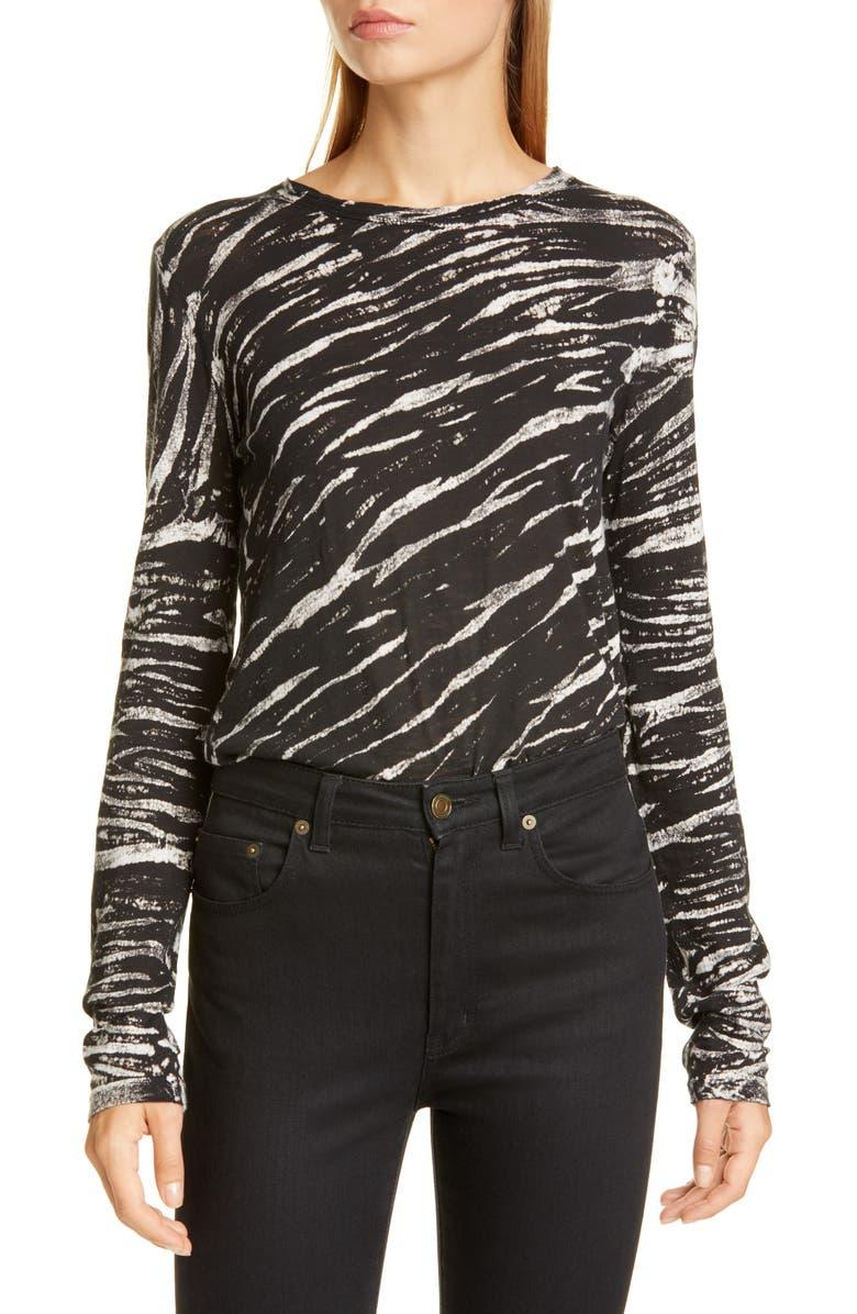 PROENZA SCHOULER Tiger Stripe Cotton Top, Main, color, BLACK/ WHITE DIAGONAL