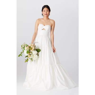 By Watters Brennan Strapless Cutout Bodice Wedding Dress, Ivory