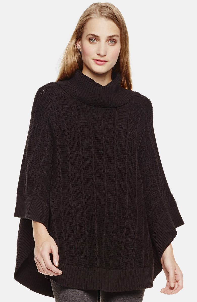 TWO BY VINCE CAMUTO Rib Knit Turtleneck Poncho, Main, color, 001